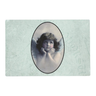 Sweet Rosy Cheeked Vintage Angel in Clouds Laminated Placemat