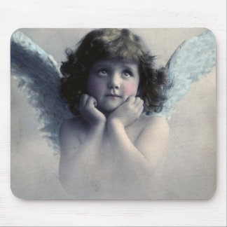 Sweet Rosy Cheeked Vintage Angel in Clouds Mouse Pad