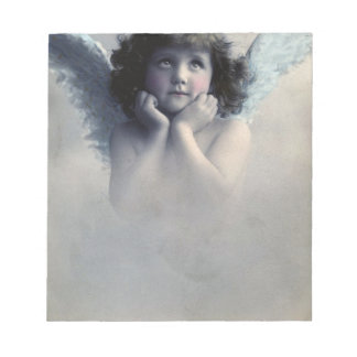 Sweet Rosy Cheeked Vintage Angel in Clouds Notepad