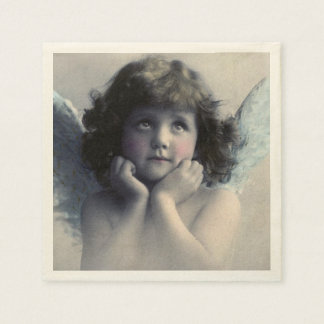 Sweet Rosy Cheeked Vintage Angel in Clouds Paper Napkin