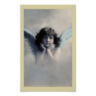 Sweet Rosy Cheeked Vintage Angel in Clouds Poster
