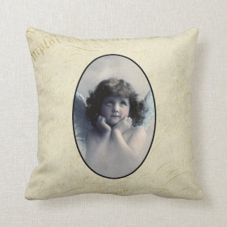 Sweet Rosy Cheeked Vintage Angel in Clouds Throw Pillow