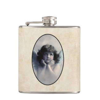 Sweet Rosy Cheeked Vintage Angel in the Clouds Flask