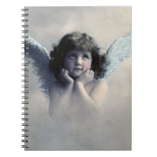Sweet Rosy Cheeked Vintage Angel in the  Clouds Notebook