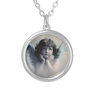 Sweet Rosy Cheeked Vintage Angel in the Clouds Round Pendant Necklace