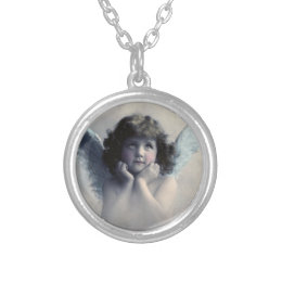 Sweet Rosy Cheeked Vintage Angel in the Clouds Silver Plated Necklace