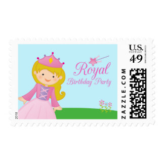 Sweet royal princess girl's birthday party stamps