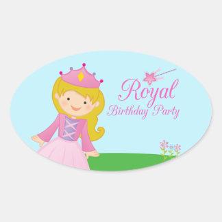 Sweet royal princess girl's birthday party sticker