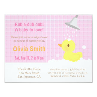 Sweet Rubber Ducky PInk Baby Shower Invitations