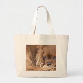Sweet Ruby Cavalier King Charles Spaniel Large Tote Bag