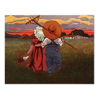 "SWEET RURAL COUPLES IMAGE ANNIVERSARY INVITATIONS 4.25"" X 5.5"" INVITATION CARD"