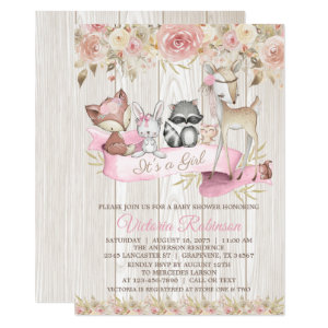 Sweet Rustic Forest Woodland Animal Baby Shower Invitation