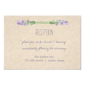Sweet Rustic Purple Lavender Kraft Look Reception Card