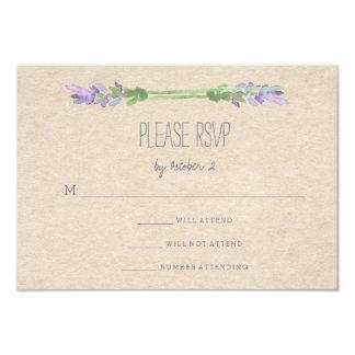 Sweet Rustic Purple Lavender on Kraft Look RSVP Card