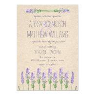 Sweet Rustic Purple Lavender on Kraft Look Wedding 5x7 Paper Invitation Card