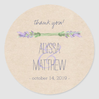 Sweet Rustic Purple Lavender on Kraft Look Wedding Classic Round Sticker