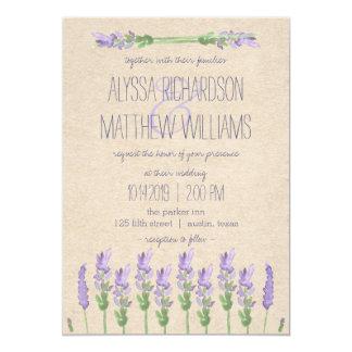 Sweet Rustic Purple Lavender on Kraft Look Wedding Invitation
