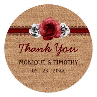 Sweet Rustic Roses Lace - Wedding Thank You Circle Card