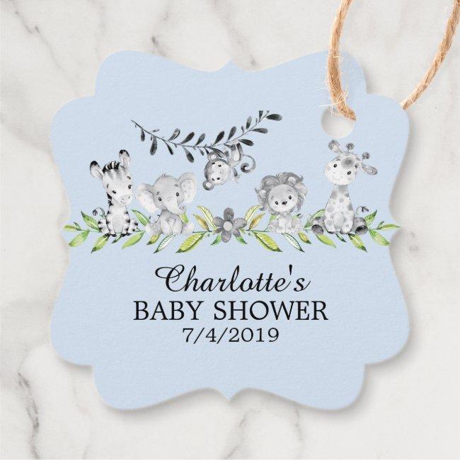 Sweet Safari Animals Baby Shower Favor Gift Tag
