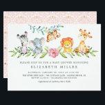 "Sweet Safari Animals Baby Shower Invitation<br><div class=""desc"">Watercolor jungle animals baby shower invitation for a baby girl.</div>"