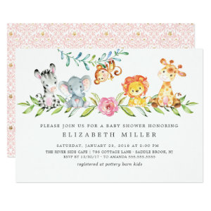 Sweet Safari Animals Baby Shower Invitation