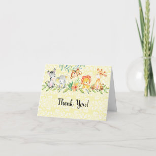 Safari Zebra Thank You Card for Baby Shower or Birthday Party