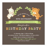 "Sweet Safari Birthday Party Invitation 5.25"" Square Invitation Card"