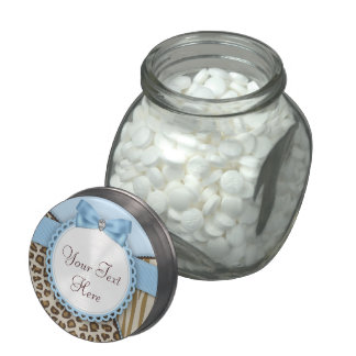 Sweet Safari Blue and Brown Baby Shower Candy Glass Jars