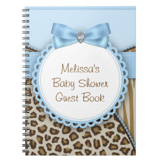 Sweet Safari Blue and Brown Baby Shower Guest Book Spiral Notebook