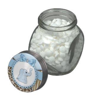 Sweet Safari Blue Elephant Baby Shower Candy Glass Jars