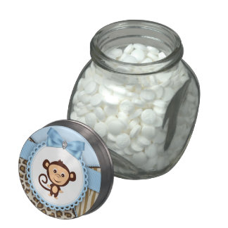 Sweet Safari Brown and Blue Monkey Baby Shower Jelly Belly Candy Jar