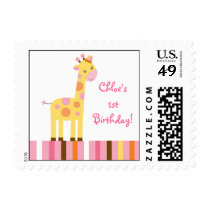 Sweet Safari Giraffe Girl Postage Stamps
