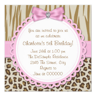 Sweet Safari Girls 5th Birthday Party Card
