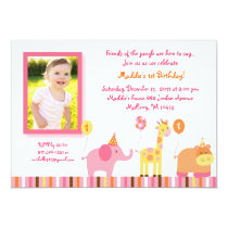 Sweet Safari Jungle Animal Birthday Invitations