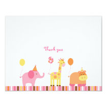 Sweet Safari Jungle Animal Thank You Note Cards