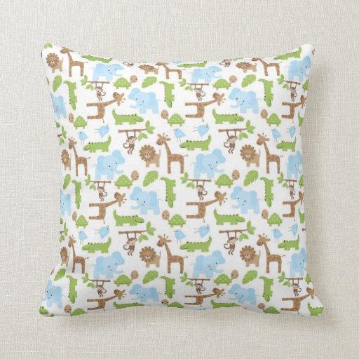 Animal Pillows For Nursery : Sweet Safari Jungle Animals Nursery Throw Pillow Zazzle