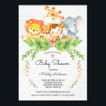 "Sweet Safari Jungle Baby Shower Invitation<br><div class=""desc"">Cute watercolor jungle safari baby shower featuring a adorable giraffe,  lion,  monkey &amp; elephant with jungle leaves &amp; pink flowers set on a white burlap background.   Perfect for a girls baby shower,  boys baby shower or gender neutral baby shower.</div>"