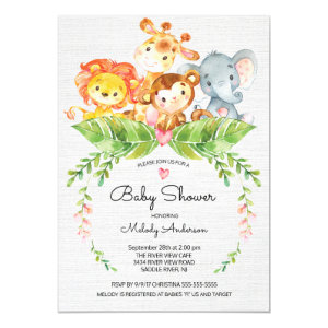 Sweet Safari Jungle Baby Shower Invitation
