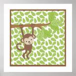 Sweet Safari Little Monkey Nursery Wall Art Posters