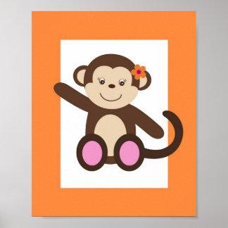 Sweet Safari Monkey Nursery Wall Art Print