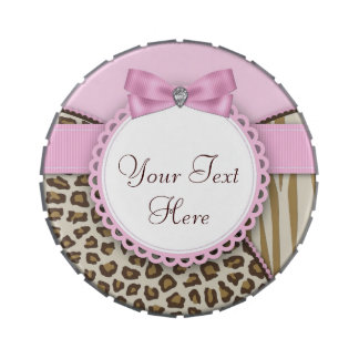 Sweet Safari Pink and Brown Baby Shower Candy Tins