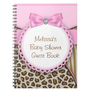 Sweet Safari Pink and Brown Baby Shower Guest Book