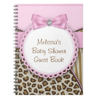 Sweet Safari Pink and Brown Baby Shower Guest Book Spiral Notebook