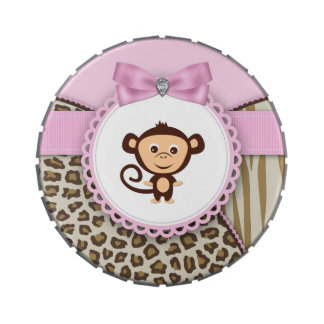 Sweet Safari Pink Monkey Baby Shower Candy Candy Tins
