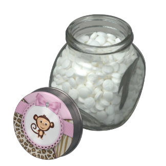 Sweet Safari Pink Monkey Baby Shower Candy Jar Jelly Belly Candy Jars