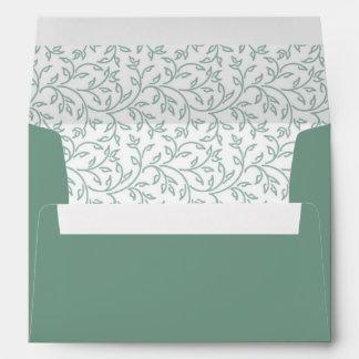 Sweet Sage Green Floral Wedding Envelopes
