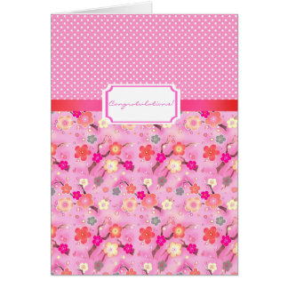 Sweet Sakura cherry blossom greeting card