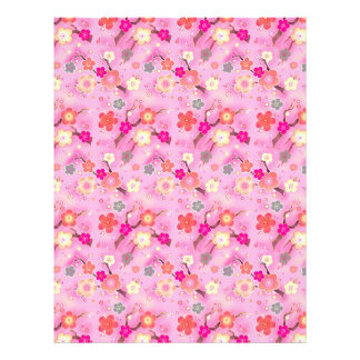 Sweet Sakura cherry blossom scrapbook paper Letterhead Template