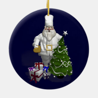 Sweet Santa Claus Chef Ceramic Ornament