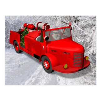 Sweet Santa Claus In Fire Engine Postcard